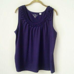 Chico's | top purple tank braided neck size 3 XL